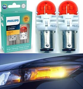 Philips Ultinon LED Light 1157 Amber Orange Two Bulbs Front Turn Signal Replace