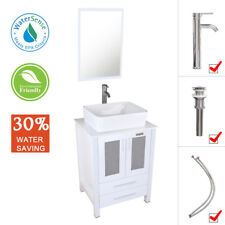 "24"" Bathroom Vanity Set White Ceramic Vessel Sink Modern w/ Faucet Mirror Combo"