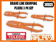 TOLEDO 301025 - BRAKE LINE CRIMPING PLIERS - 3 PC SET - ROUNDED JAWS RESTRICT