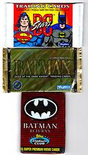 Lot of 3 Batman Unopened Card Packs DC Stars Superman Saga Dark Knight Stadium
