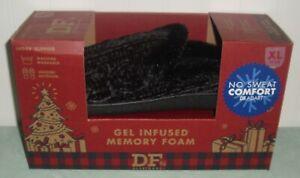 Dearfoams Gel Infused Memory Foam Slippers Ladies XL 11-12 Black New NIB