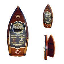 Schlüsselkasten - Knotenbild in Bootsform - Holz Messing Glas Tau - Knotentafel