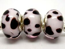 Fashion Black Dot Lampwork Glass Big Hole Beads Fit European Charm Bracelet