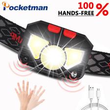 60000Lumen LED Headlamp Motion Sensor Headlight USB Rechargeable Flashlight