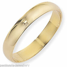 9ct Gold Wedding ring 4mm D Shaped Band size R Gift boxed Hallmarked