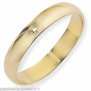9ct Gold Wedding ring size O 4mm D Shaped band Gift boxed Hallmarked