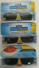 3 SOLAR SHIELD Clip-on Polarized Sunglasses Size 51 rec B Black lens Frameless