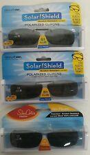 3 SOLAR SHIELD Clip-on Polarized Sunglasses Size 51 rec B Black lens Frameless
