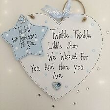 Personalised Twinkle Twinkle Little Star Handmade Heart Plaque Baby Gift