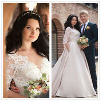 Vintage lace satin 3/4 Sleeves Wedding Dress Bridal Gown With Pocket Size 4-26W