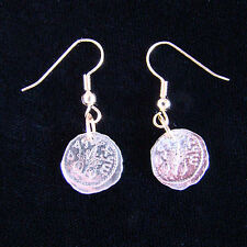 UNIQUE Hand Cut Israeli Widow's Mite Coin Earrings Jewelry 5 Agorot GREAT GIFT