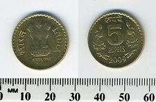 India 2009 - 5 Rupees Nickel-Brass Coin - Value flanked by flowers