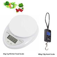 5kg/1g 40kg/10g Digital Electronic Kitchen Food Scale Hanging Weight Balance AU