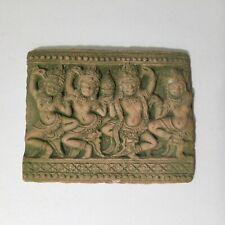 Antique Hindu Art Handcraft Dokra Ornamental Terracotta 3¾�x3� Lime Plaster Tile