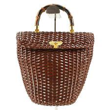 Designer Elegance Paris AE Vintage Bamboo Top Handle Leather Woven Handbag Italy