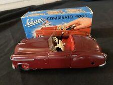 "SCHUCO Combinato  4003, "" RED""  Germany U.S-Zone tin toy wind-up car box 1950s"