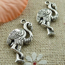 Free Ship 10 pieces tibetan silver crane charms 24x12mm #376