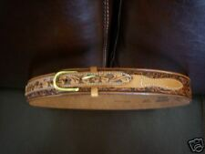 Tooled Brown Leather Belt, Sz 30, USA The Boot Station