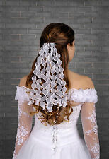 New Womens Girls Wedding Bridal Organza Curls Hair Comb Veil Corsage