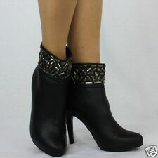 950 Ankle High Stiletto Heel Embellished Faux Leather Black Boots Size UK 5 EU38