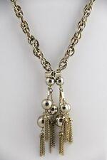70's VINTAGE Jewelry GANGSTA Huge SILVER ROPE CHAIN & RUNWAY  TASSLE PENDANT