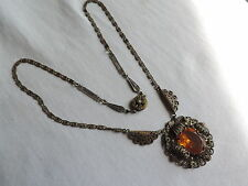 Victorian Filigree Pendant Necklace Jewelry (hh909)