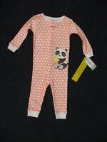 Carter's Baby Girls One Piece Footless Pajamas Size 12 Months Polka Dot Panda