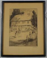 Original Vintage Etching of a Colonial Scene by Alexander A. Blum Listed