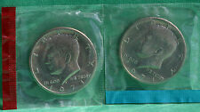1971 P and D Kennedy Half Dollar Coin from US Mint Set 2 BU Cello Coins 50c