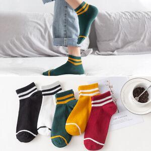 Women Fashion Comfortable Stripe Cotton Socks Ankle High Casual Breathable Socks
