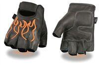 Mens Orange Flame Leather Fingerless Motorcycle Gloves Gel pad Biker S-2XL