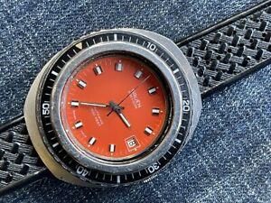 Gruen Precision Automatic Diver Clean Original Orange Dial Rotating Bezell STEEL