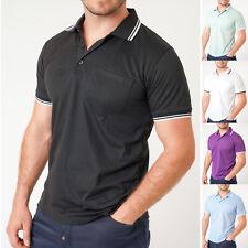 Mens Polo Shirt Tipping Plain Work Casual Pocket Short Sleeve Pique Shirt S-5XL