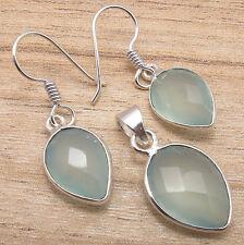 Eye-Catching Jewelry SET, 925 Silver Plated AQUA CHALCEDONY Earrings & Pendant