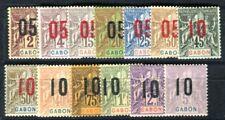 GABON 1912 Yvert 66-78 * SATZ AUFDRUCKE (F3630
