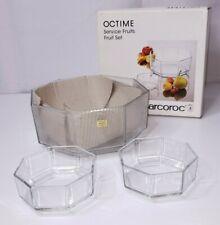 "Luminarc Arcoroc Octime Clear OCTAGON Glass Serving 9.5"" Salad Bowl 7pc Set"
