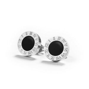 Fashion Silver Round Black Crystal Jewelry Anti Allergic Stainless Steel Earring
