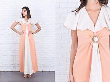Vintage 70s Peach + Ivory Maxi Dress Cape Sleeve Color Block Striped Medium M