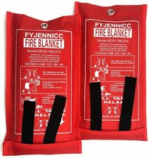2 x New Quick Release Home & Office Safety Large Fire Blanket In Case 1m X 1m RE