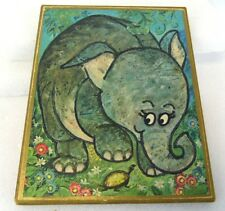 "Vintage 1970 Kid's Room 10"" Baby Elephant Calf Turtle Particle Board Painting"