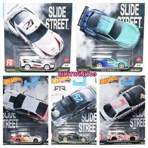 HOT WHEELS 2021 CAR CULTURE SLIDE STREET CASE E SET OF 5 TOYOTA NISSAN SUBARU