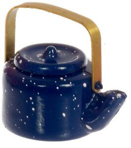 1:12 Scale Blue Spotted Metal Kettle Tumdee Dolls House Miniature Kitchen Water