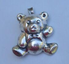 Sterling Silver Teddy Bear Pendant Hollow 3D