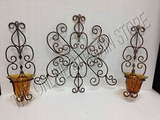 Alstos Antique Copper Wall Hanging Candle Votive Holder Glass Cups Home Decor