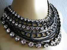 BETSEY JOHNSON MULTI ROW CRYSTAL BLACK CHAIN PAVE SKULL STATEMENT NECKLACE~RARE