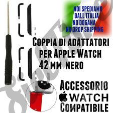 COPPIA 2 ADATTATORI PER APPLE WATCH 42mm ACCIAIO NERO CONNETTORI PER CINTURINO
