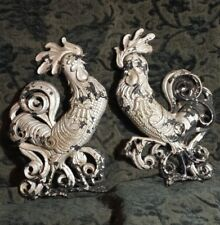 """15"""" vtg CAST IRON ROOSTERS CHICKENS chippy WALL DECOR farmhouse silver vtg"""
