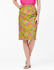 NEW $128 BODEN MULTI-COLOR YELLOW FLORAL LINED SILKY PENCIL SKIRT WG542 - US 2R