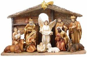 Xmas Traditional Nativity Full Set 11 Figures Stable Xmas Decor Hand Made Italy