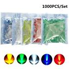 1000Pcs 5mm LED Lamp Blue Green Yellow Red White Round LED Diode Mixed Color Kit